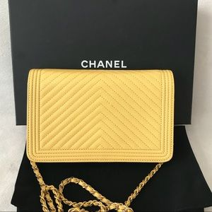 1466389f25d0 CHANEL Bags - Auth Chanel Boy Yellow Caviar Wallet on Chain Rare